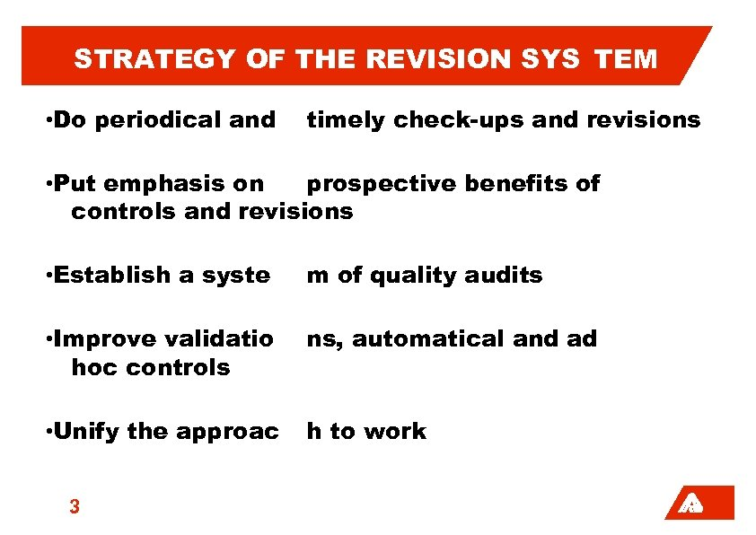 STRATEGY OF THE REVISION SYS TEM • Do periodical and timely check-ups and revisions