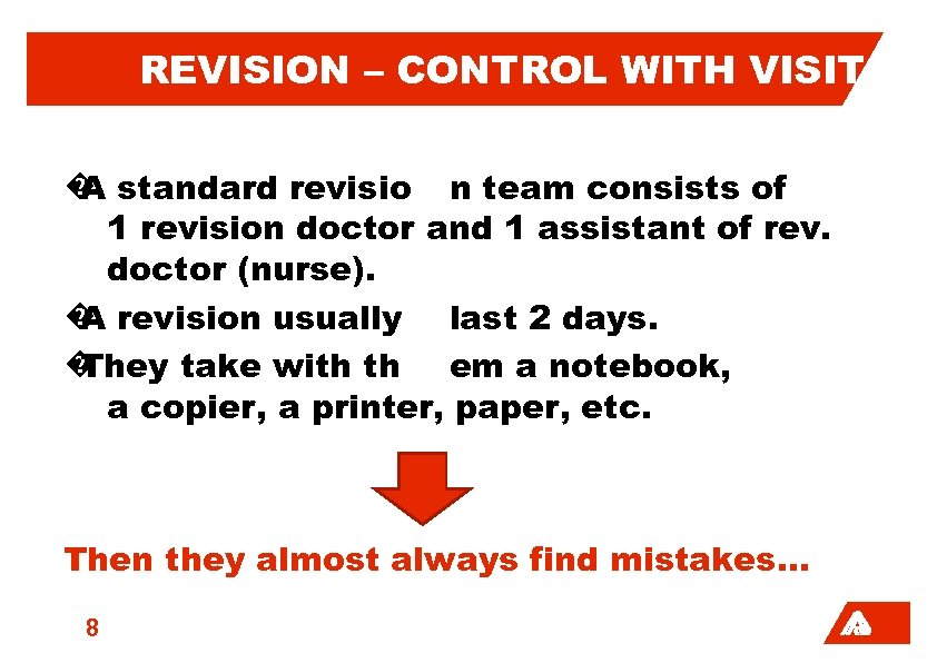 REVISION – CONTROL WITH VISIT � standard revisio n team consists of A 1