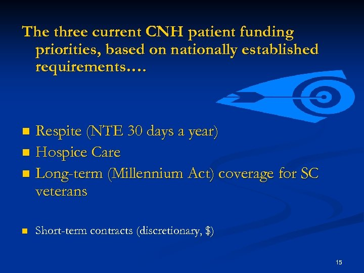 The three current CNH patient funding priorities, based on nationally established requirements…. Respite (NTE