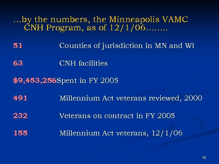 …by the numbers, the Minneapolis VAMC CNH Program, as of 12/1/06……. . 51 Counties