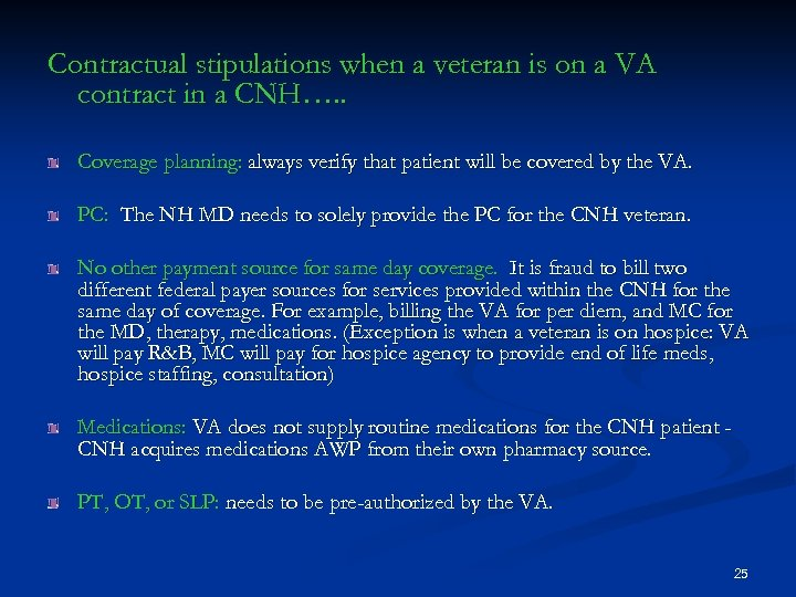 Contractual stipulations when a veteran is on a VA contract in a CNH…. .