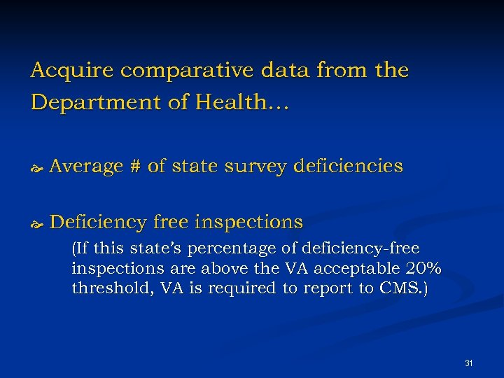 Acquire comparative data from the Department of Health… Average # of state survey deficiencies