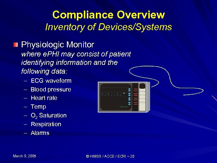 Compliance Overview Inventory of Devices/Systems Physiologic Monitor where e. PHI may consist of patient
