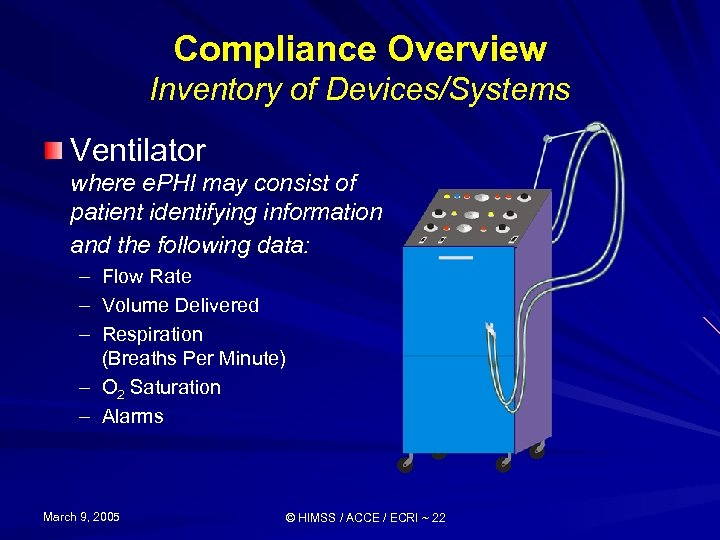 Compliance Overview Inventory of Devices/Systems Ventilator where e. PHI may consist of patient identifying