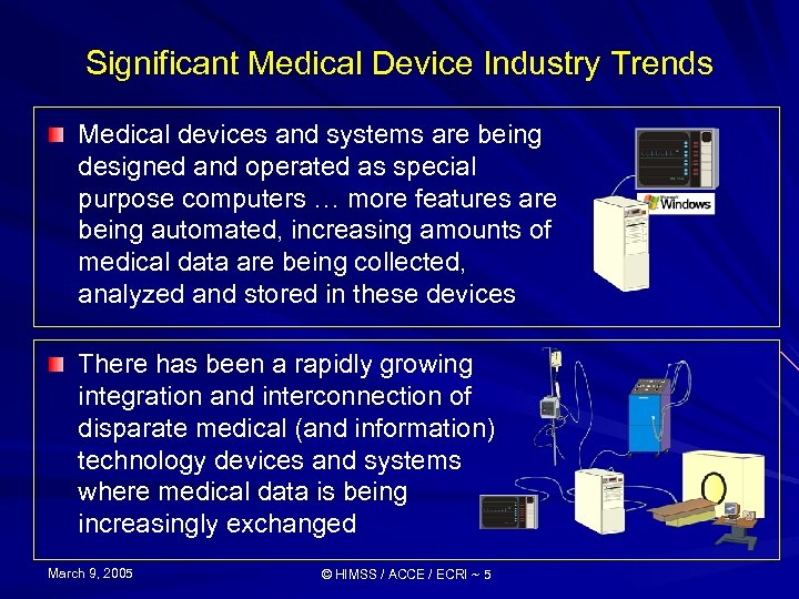 Significant Medical Device Industry Trends Medical devices and systems are being designed and operated