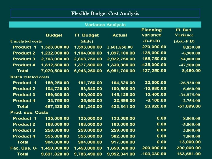 Flexible Budget Cost Analysis