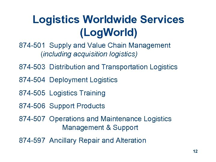 Logistics Worldwide Services (Log. World) 874 -501 Supply and Value Chain Management (including acquisition