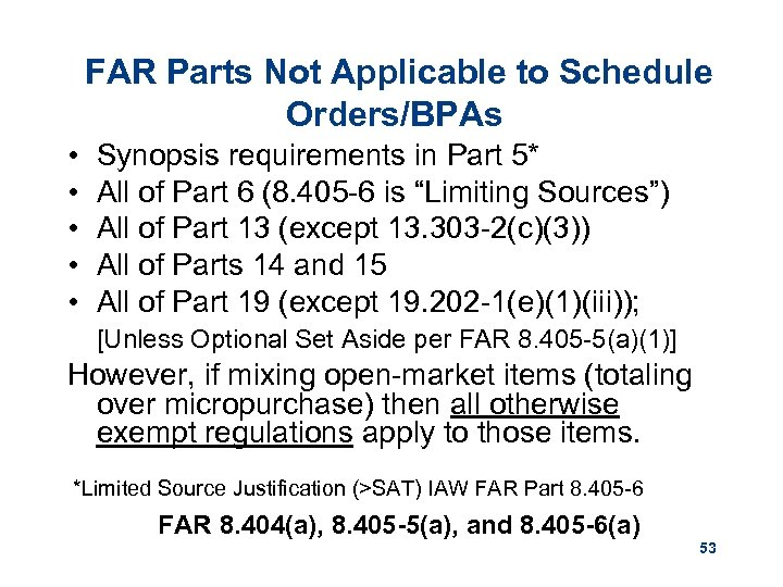 FAR Parts Not Applicable to Schedule Orders/BPAs • • • Synopsis requirements in Part