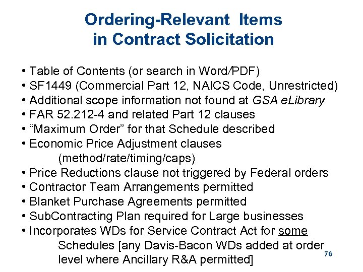 Ordering-Relevant Items in Contract Solicitation • Table of Contents (or search in Word/PDF) •