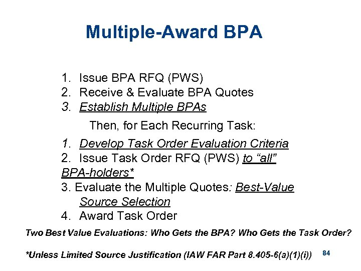 Multiple-Award BPA 1. Issue BPA RFQ (PWS) 2. Receive & Evaluate BPA Quotes 3.