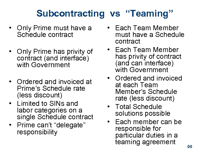 """Subcontracting vs """"Teaming"""" • Only Prime must have a Schedule contract • Only Prime"""