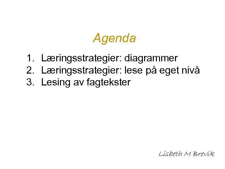 Agenda 1. Læringsstrategier: diagrammer 2. Læringsstrategier: lese på eget nivå 3. Lesing av fagtekster