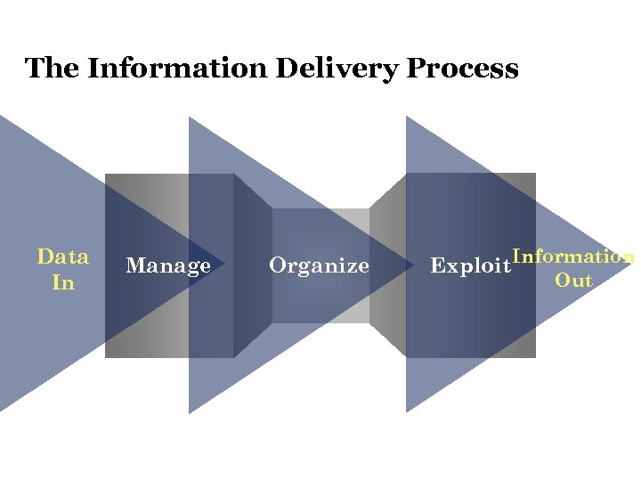 The Information Delivery Process Data In Manage Organize Exploit Information Out