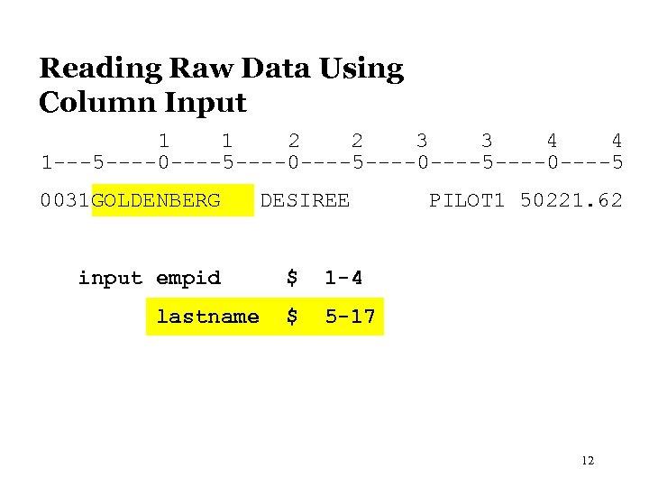 Reading Raw Data Using Column Input 1 1 2 2 3 3 4 4
