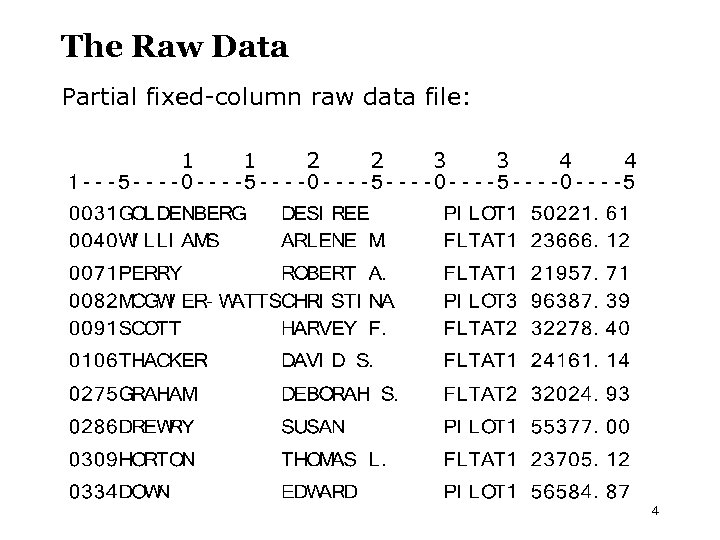 The Raw Data Partial fixed-column raw data file: 1 1 2 2 3 3