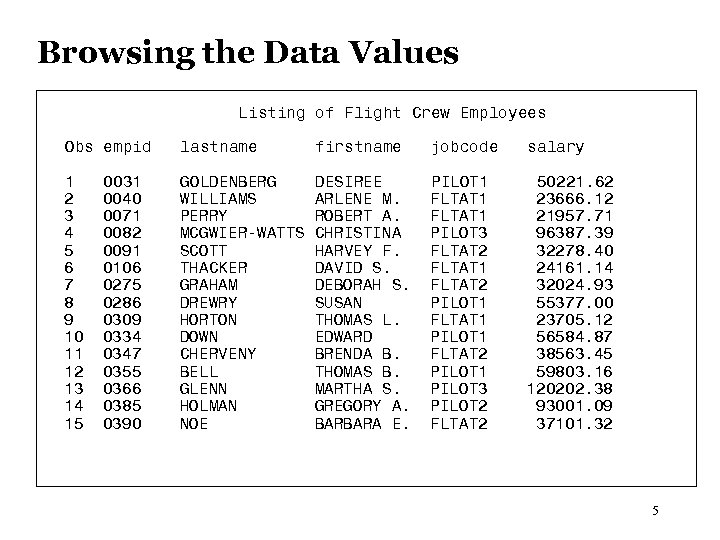 Browsing the Data Values Listing of Flight Crew Employees Obs empid lastname firstname jobcode