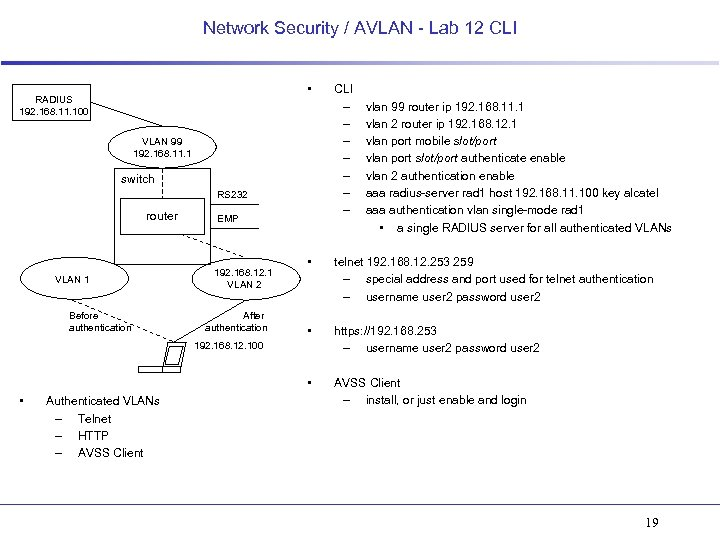 Network Security / AVLAN - Lab 12 CLI • RADIUS 192. 168. 11. 100