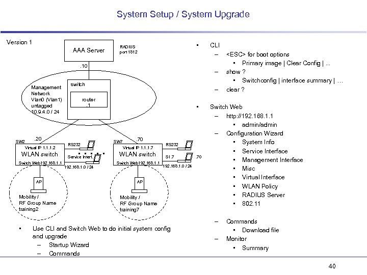 System Setup / System Upgrade Version 1 AAA Server • RADIUS port 1812 .