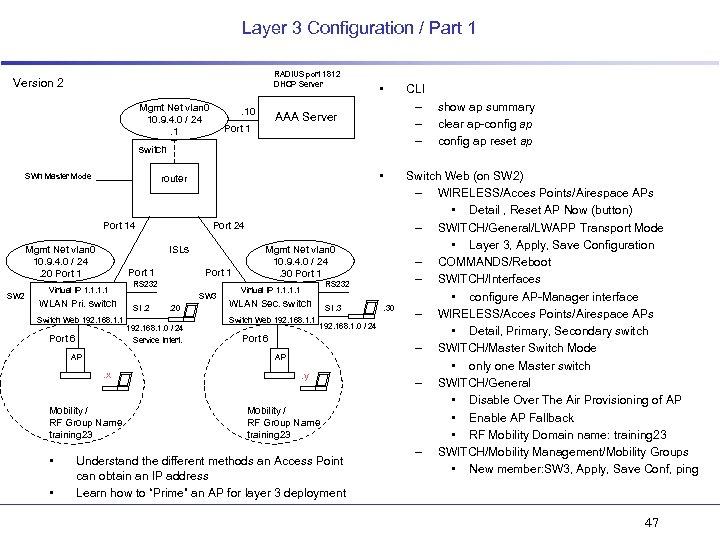 Layer 3 Configuration / Part 1 RADIUS port 1812 DHCP Server Version 2 Mgmt