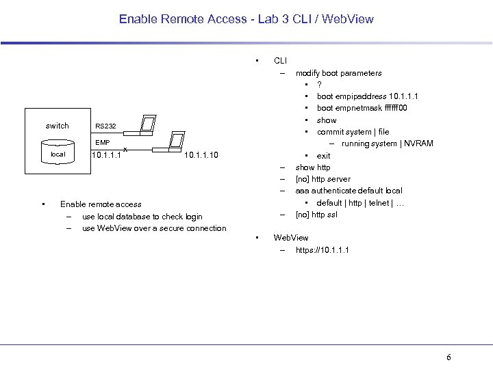 Enable Remote Access - Lab 3 CLI / Web. View • switch RS 232