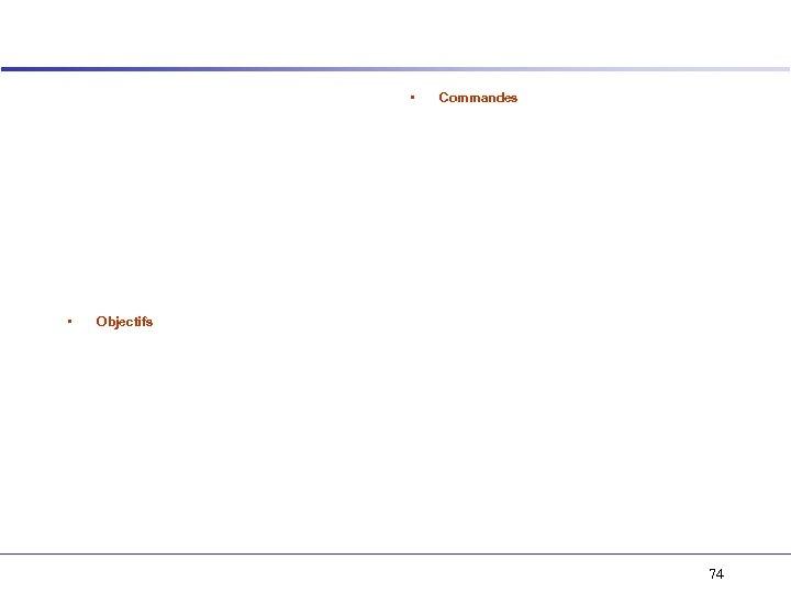 • • Commandes Objectifs 74