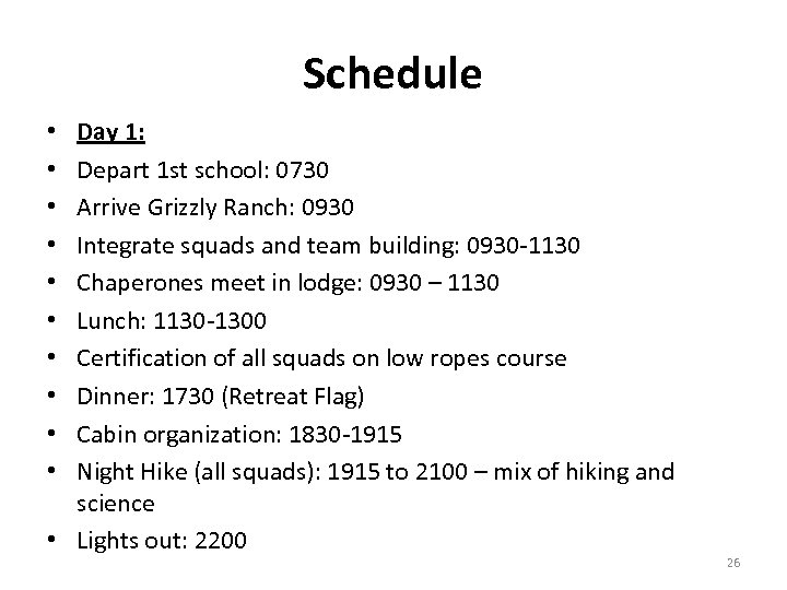 Schedule Day 1: Depart 1 st school: 0730 Arrive Grizzly Ranch: 0930 Integrate squads