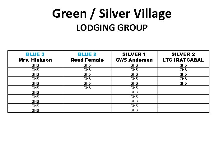 Green / Silver Village LODGING GROUP BLUE 3 Mrs. Hinkson BLUE 2 Reed Female