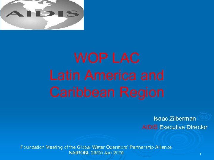WOP LAC Latin America and Caribbean Region Isaac Zilberman AIDIS Executive Director Foundation Meeting