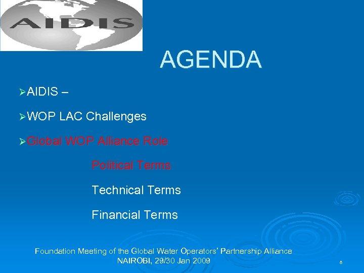 AGENDA ØAIDIS – ØWOP LAC Challenges ØGlobal WOP Alliance Role Political Terms Technical Terms
