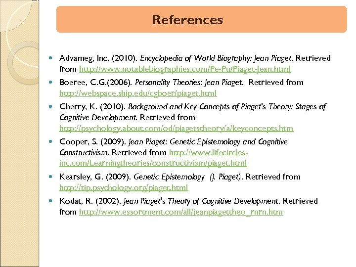 References Advameg, Inc. (2010). Encyclopedia of World Biography: Jean Piaget. Retrieved from http: //www.