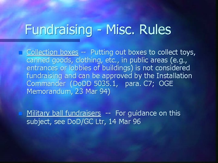 Fundraising - Misc. Rules n Collection boxes -- Putting out boxes to collect toys,