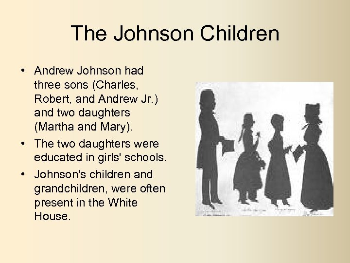 The Johnson Children • Andrew Johnson had three sons (Charles, Robert, and Andrew Jr.