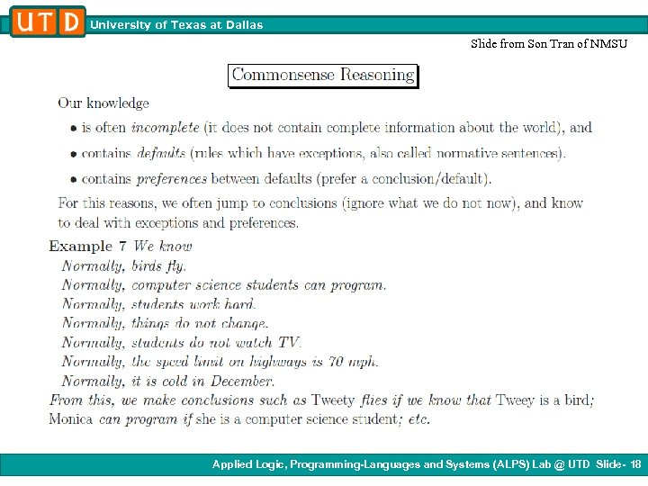 University of Texas at Dallas Slide from Son Tran of NMSU Applied Logic, Programming-Languages