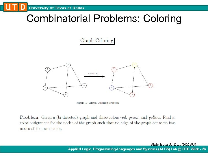 University of Texas at Dallas Combinatorial Problems: Coloring Slide from S. Tran (NMSU) Applied