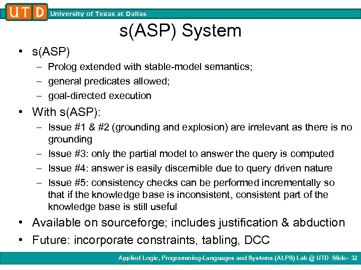 University of Texas at Dallas s(ASP) System • s(ASP) – Prolog extended with stable-model