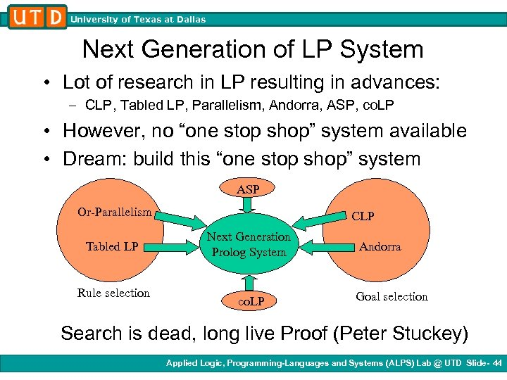 University of Texas at Dallas Next Generation of LP System • Lot of research