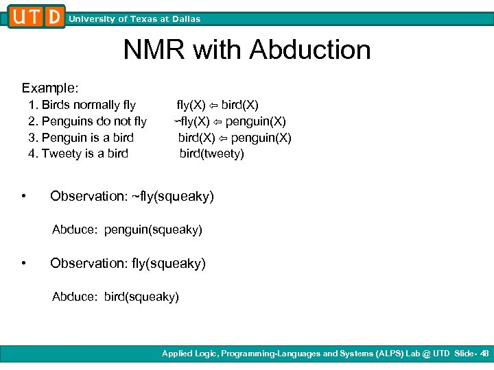 University of Texas at Dallas NMR with Abduction Example: 1. Birds normally fly 2.
