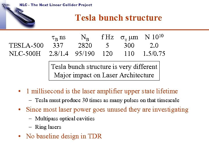 NLC - The Next Linear Collider Project Tesla bunch structure t. B ns NB