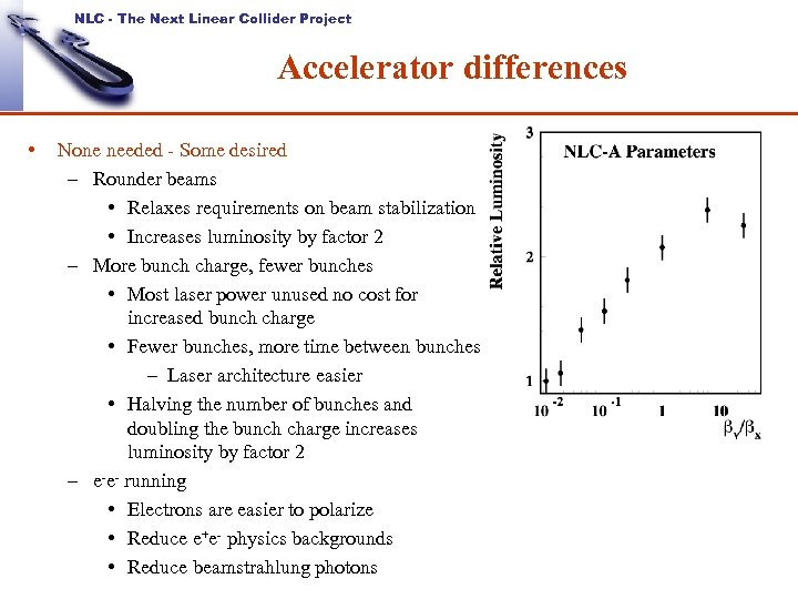 NLC - The Next Linear Collider Project Accelerator differences • None needed - Some