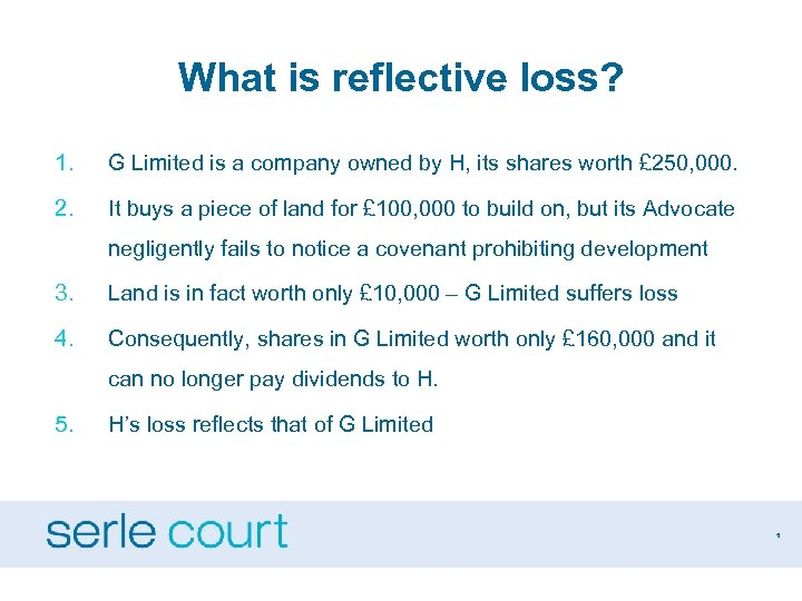 What is reflective loss? 1. G Limited is a company owned by H, its