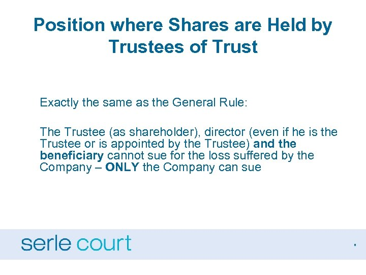 Position where Shares are Held by Trustees of Trust Exactly the same as the