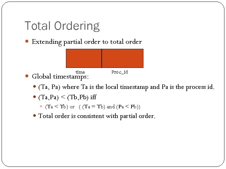 Total Ordering Extending partial order to total order time Global timestamps: Proc_id (Ta, Pa)