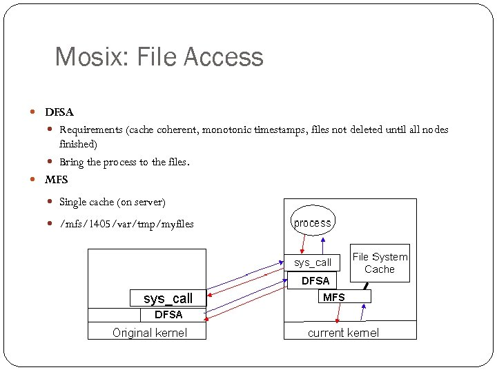 Mosix: File Access DFSA Requirements (cache coherent, monotonic timestamps, files not deleted until all
