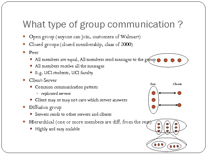 What type of group communication ? Open group (anyone can join, customers of Walmart)