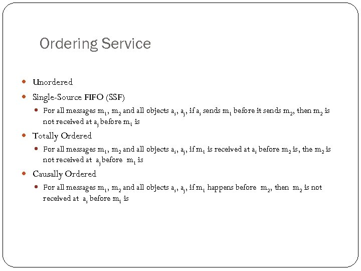 Ordering Service Unordered Single-Source FIFO (SSF) For all messages m 1, m 2 and