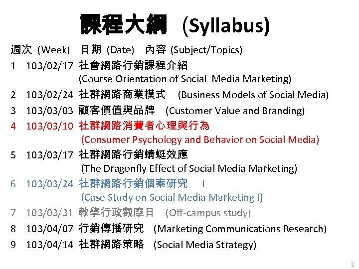 課程大綱 (Syllabus) 週次 (Week) 日期 (Date) 內容 (Subject/Topics) 1 103/02/17 社會網路行銷課程介紹 (Course Orientation of