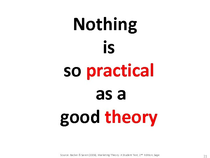 Nothing is so practical as a good theory Source: Backer & Saren (2009), Marketing
