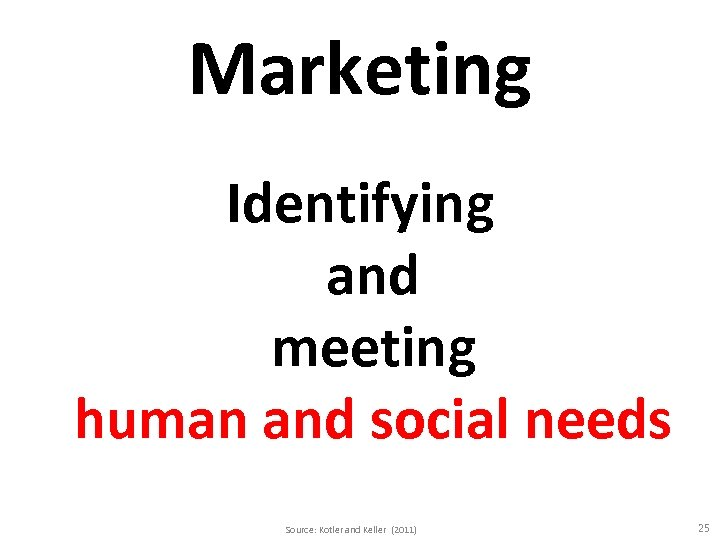 Marketing Identifying and meeting human and social needs Source: Kotler and Keller (2011) 25