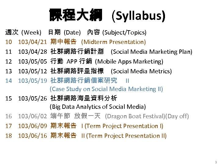 課程大綱 (Syllabus) 週次 (Week) 日期 (Date) 內容 (Subject/Topics) 10 103/04/21 期中報告 (Midterm Presentation) 11