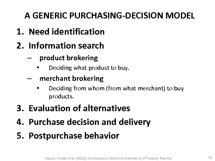 A GENERIC PURCHASING-DECISION MODEL 1. Need identification 2. Information search – product brokering •